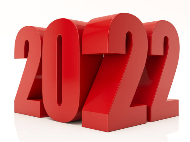 Red 3D 2022 on White Background stock photo