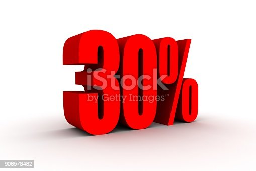 istock Red 3d 30% text on white background. 906578482