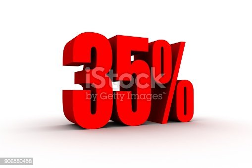 istock Red 3d 35% text on white background. 906580458