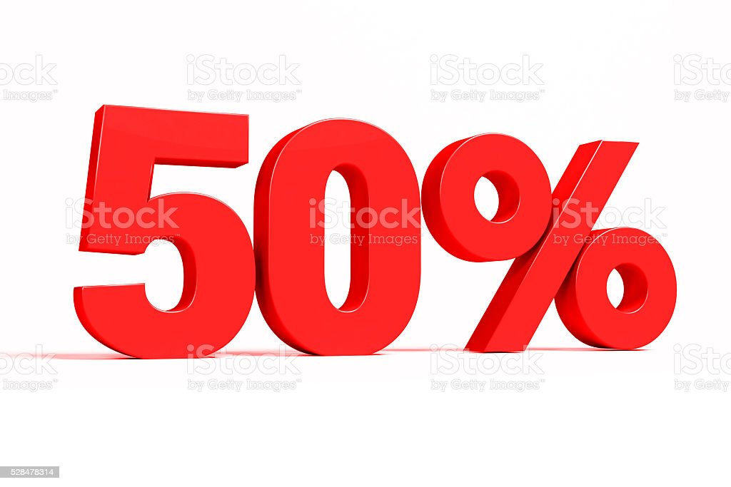 Red 3d 50% text on white background. stock photo