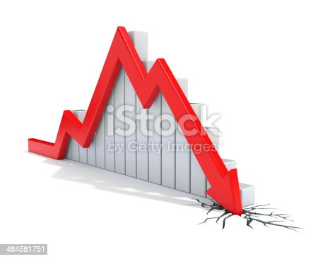 istock Red 3d arrow collapse 484581751