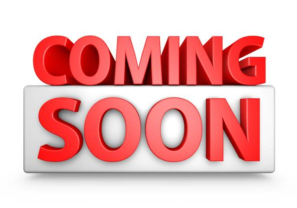 Red 3D Coming Soon Text stock photo