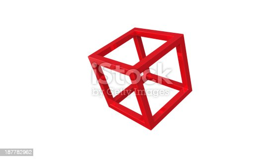 453066423 istock photo Red 3d cube frame structure isolated on white 187782962