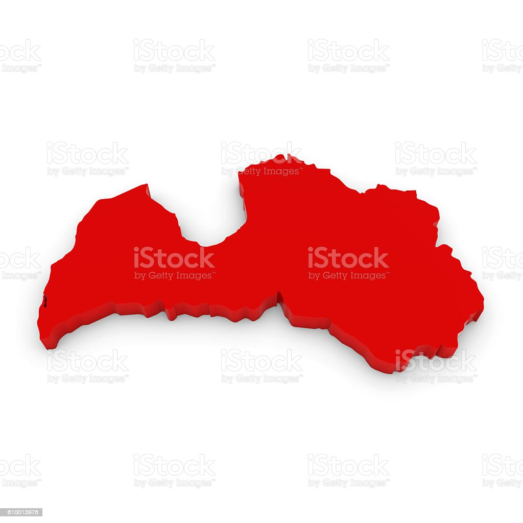 Red D Illustration Map Outline Of Latvia Isolated On White Stock - Latvia map outline