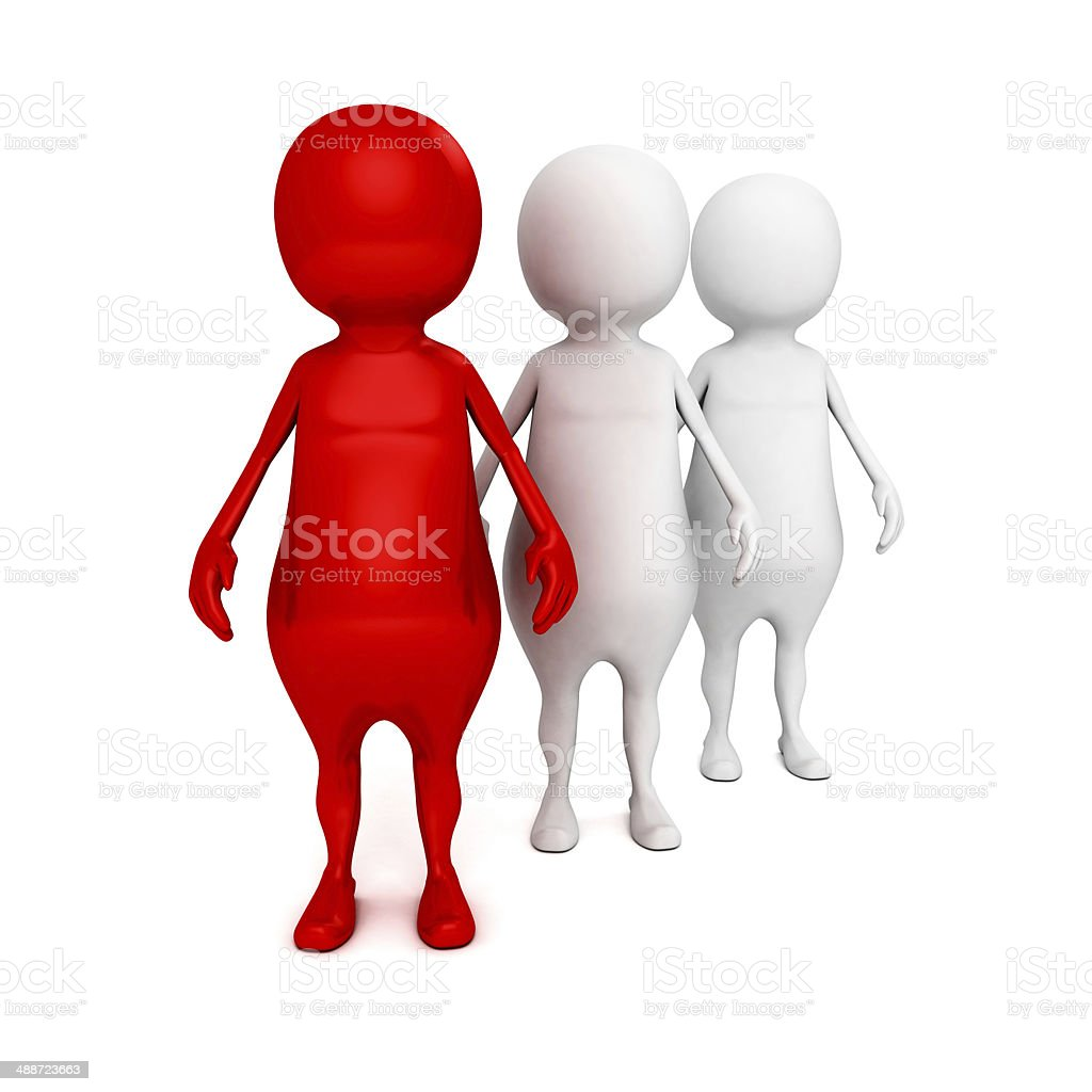 red 3d leader man of team. business boss concept stock photo