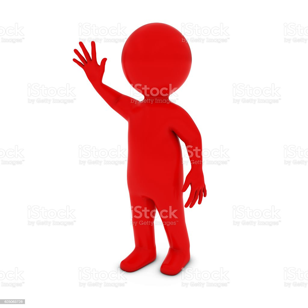 Red 3D Man Character Waving 3D Illustration stock photo