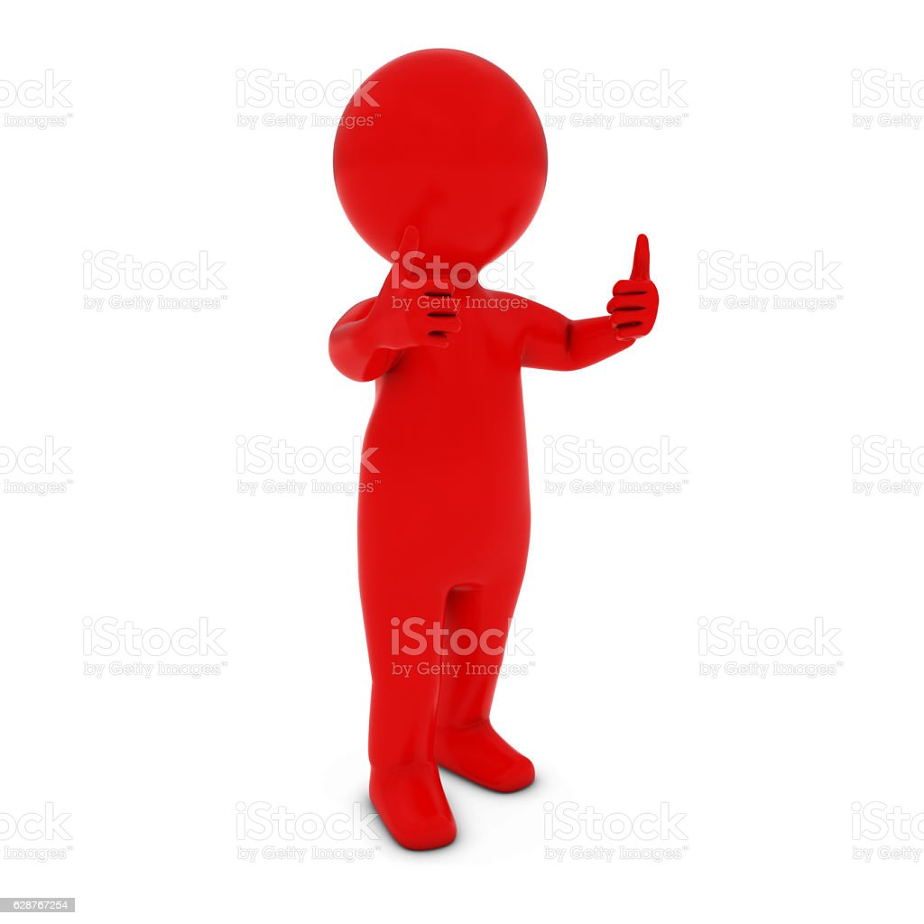 Red 3D Man Character with Two Thumbs Up 3D Illustration stock photo