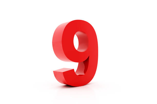Red 3d number 9 stock photo