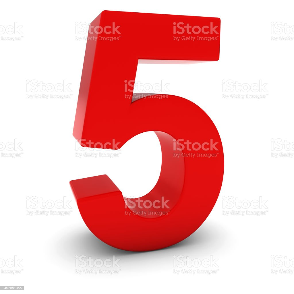 Red 3d number five isolated on white with shadows stock photo more red 3d number five isolated on white with shadows royalty free stock photo buycottarizona Images