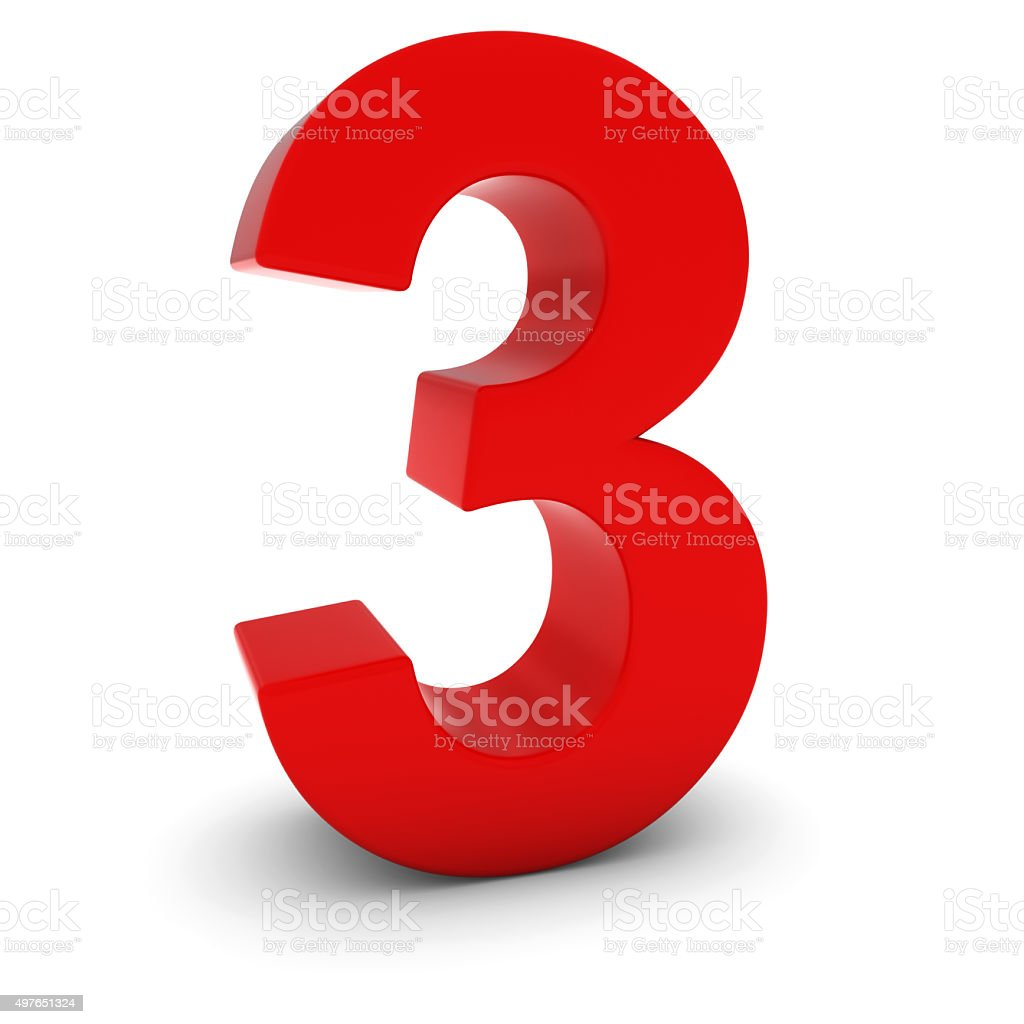 Red 3D Number Three Isolated on white with shadows stock photo