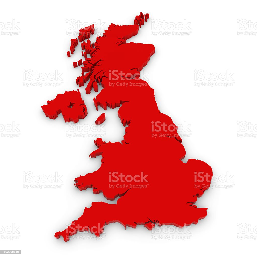 Red 3D Outline of the United Kingdom Isolated on White stock photo