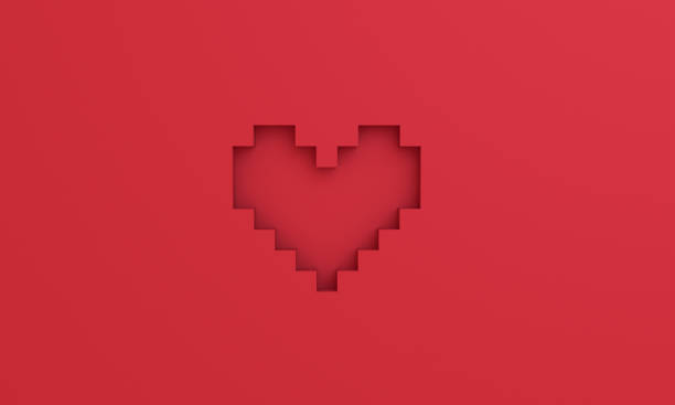 Red 3D pixel heart background stock photo