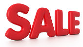 istock Red 3D SALE Bubble Text 513295812