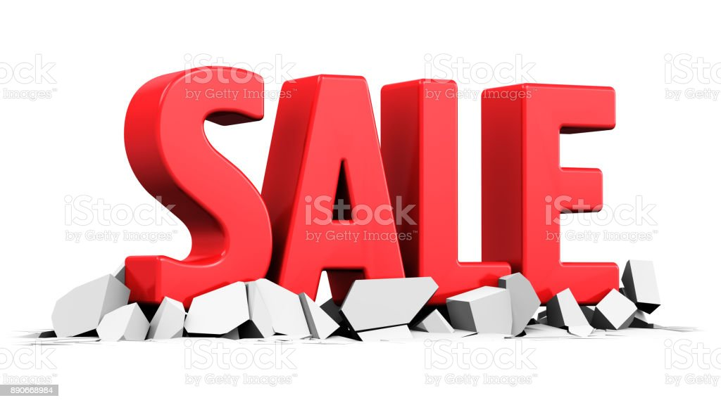 Red 3D Sale word text stock photo