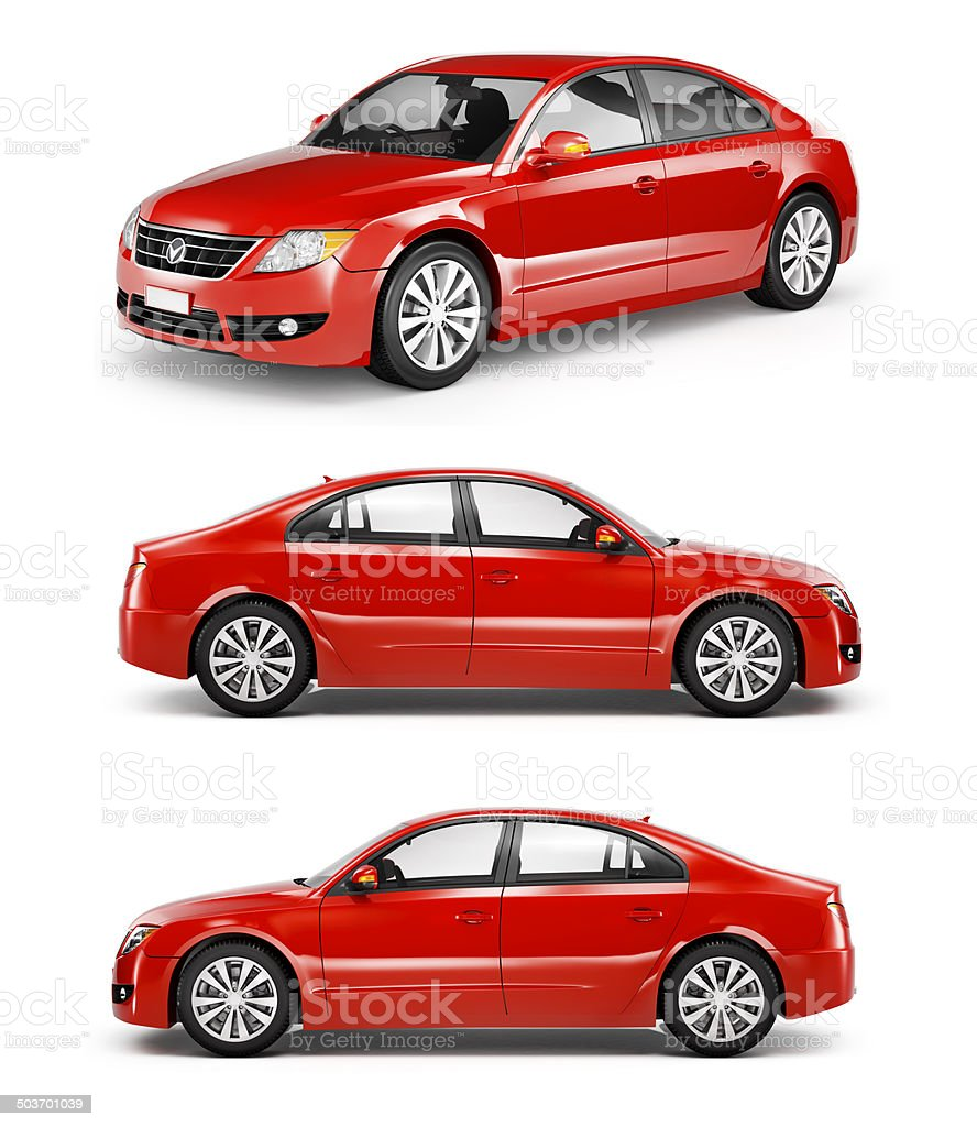 Red 3D Sedan Car stock photo