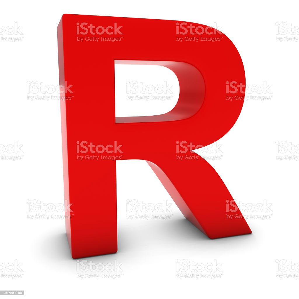Red 3D Uppercase Letter R Isolated on white with shadows stock photo