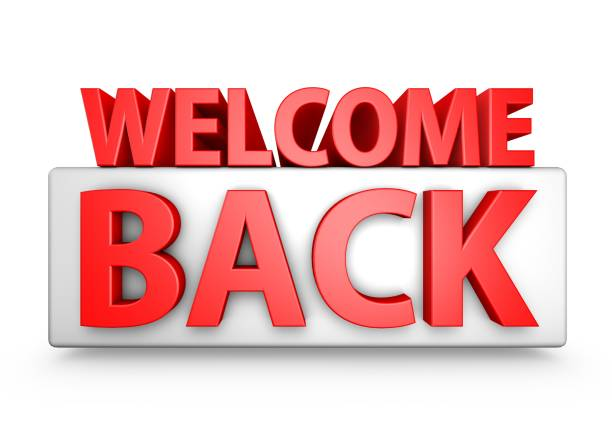 Red 3D Welcome Back Text stock photo