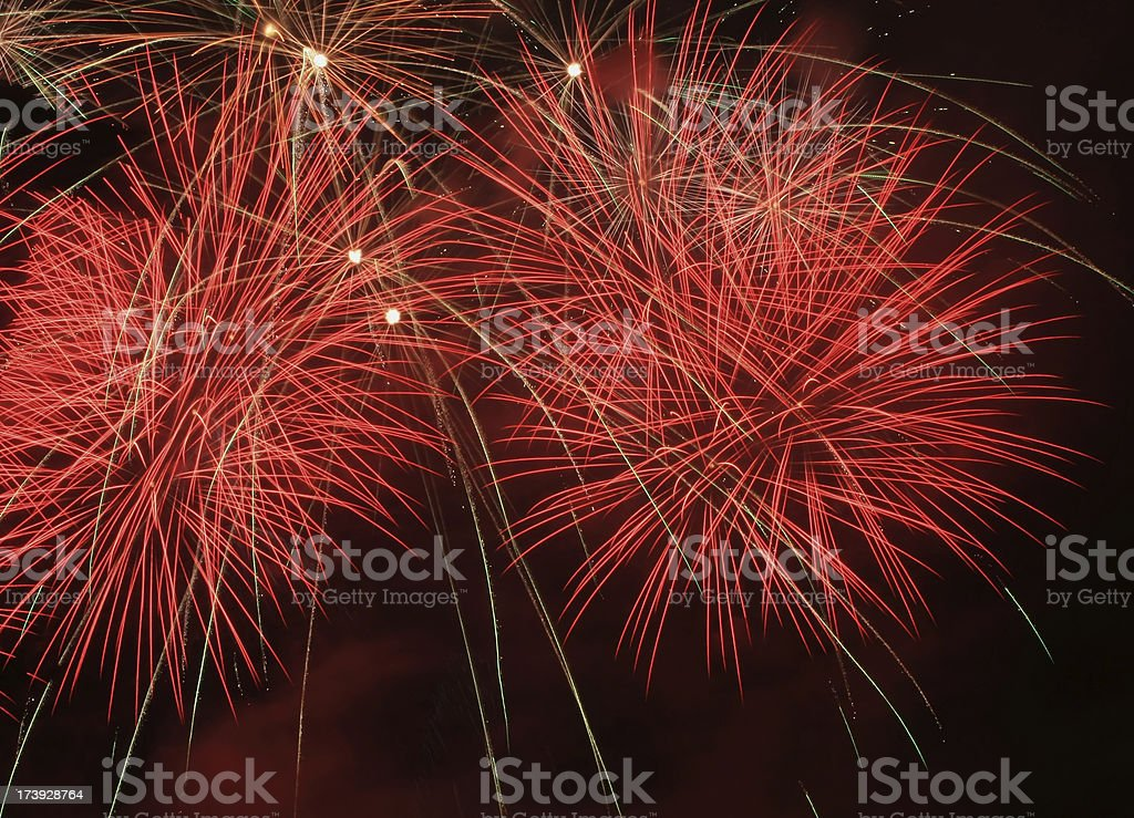 Red 4th of July fireworks royalty-free stock photo