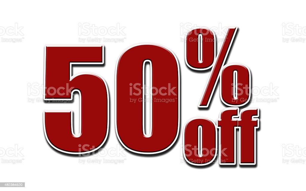 Red 50 Percent Off on white background stock photo