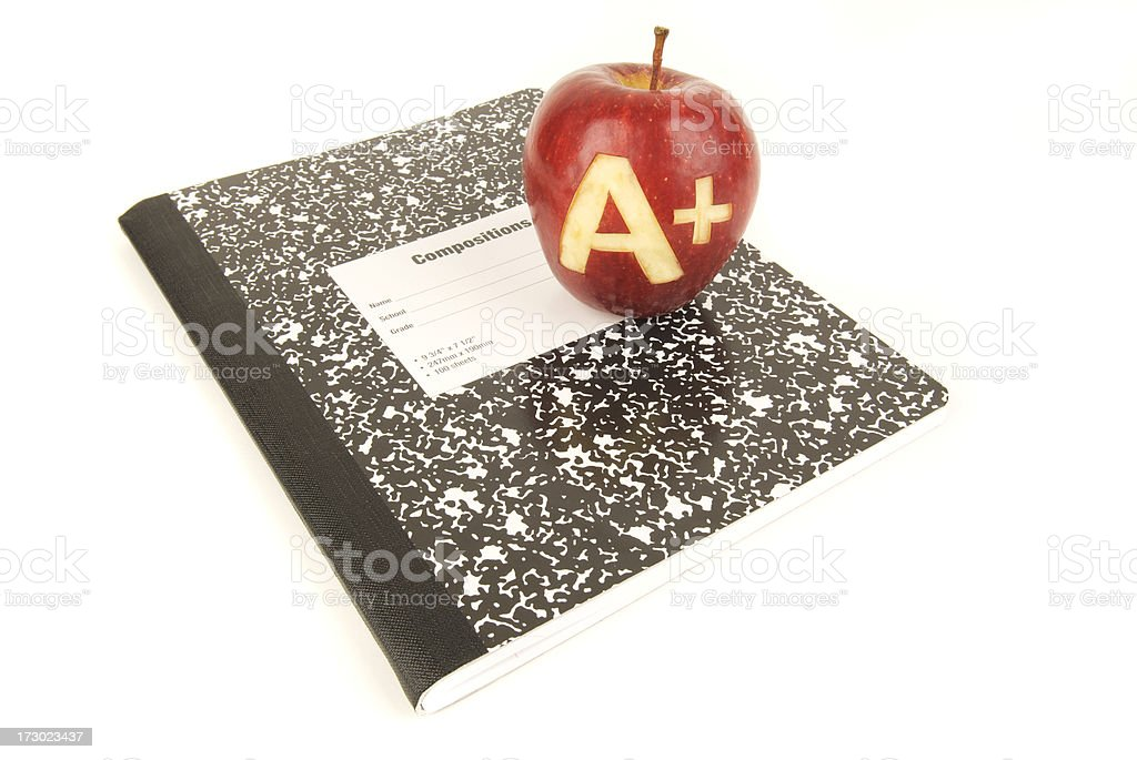 Red A+ Apple Composition Notebook royalty-free stock photo