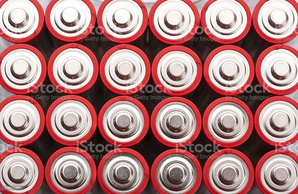 Red AA batteries royalty-free stock photo