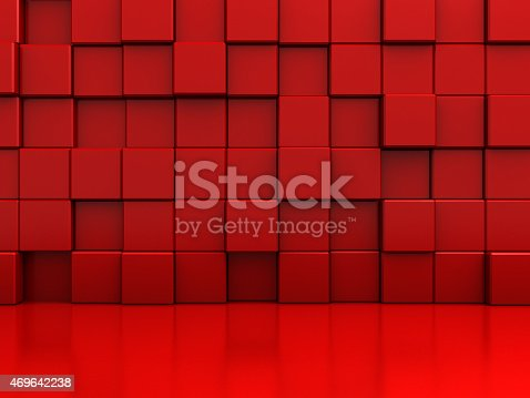 istock Red Abstract Blocks Wall Background 469642238