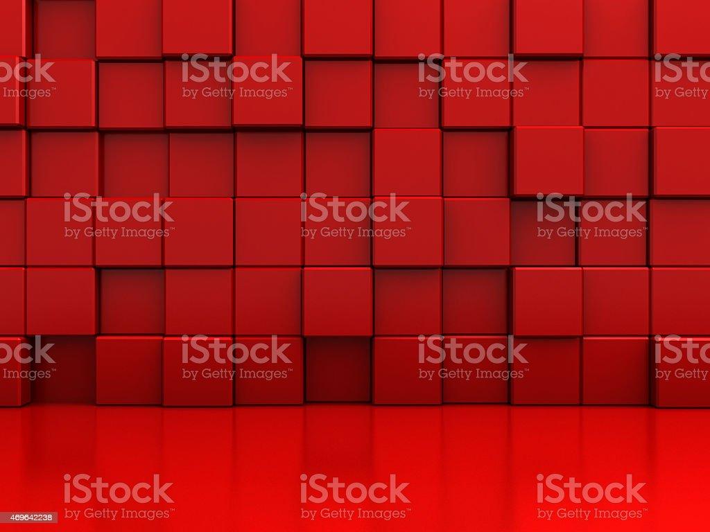 Blocos de abstrato vermelho fundo de parede - foto de acervo