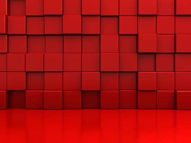 Red Abstract Blocks Wall Background stock photo