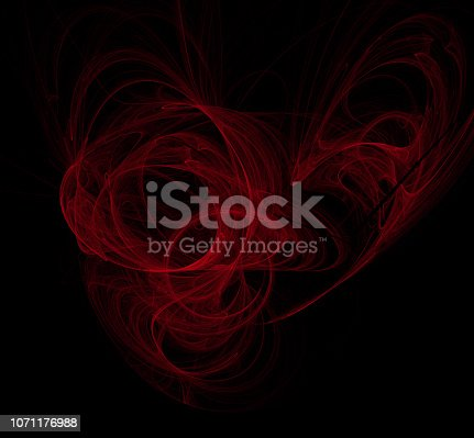 1011152398 istock photo Red abstract on black background. Fantasy fractal texture. Digital art. 3D rendering. Computer generated image. 1071176988