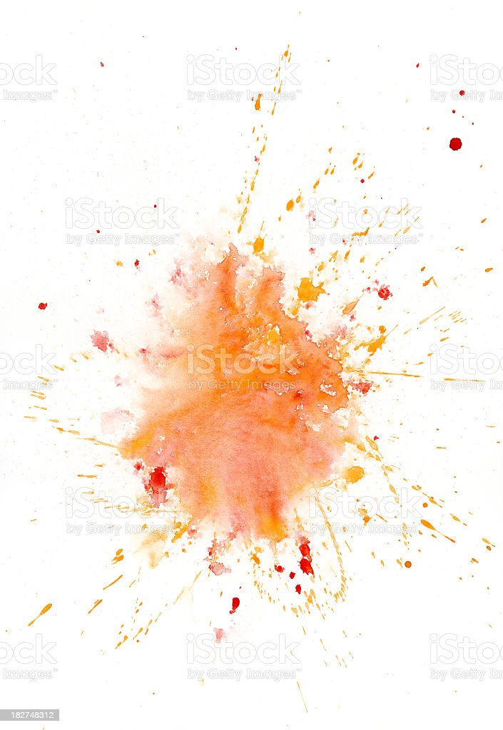 Red abstract painted blob with yellow splashes royalty-free stock photo