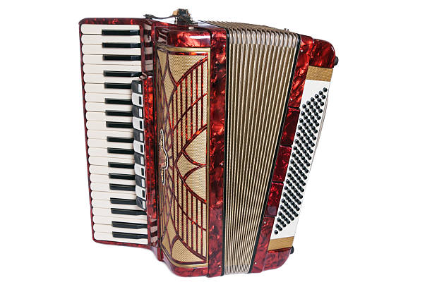 red accordion - accordion stock photos and pictures