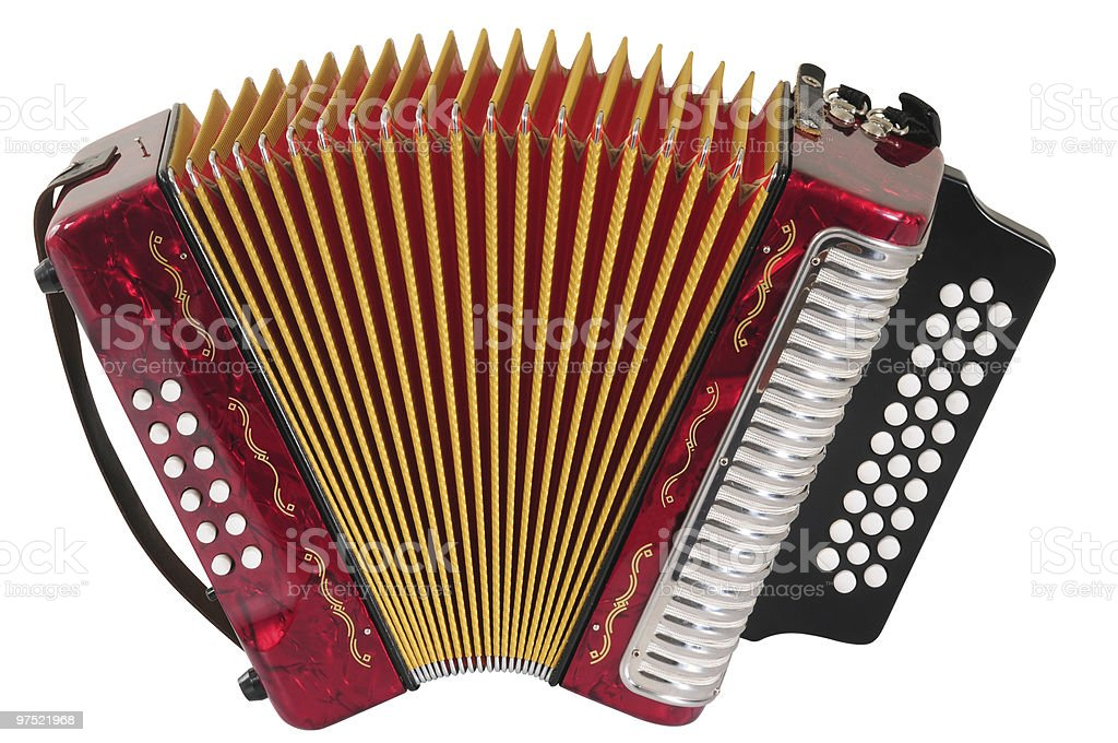 Red accordion. stock photo