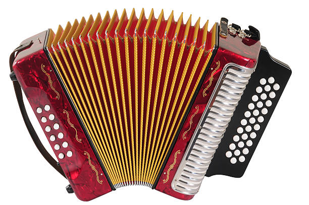 red accordion. - accordion stock photos and pictures