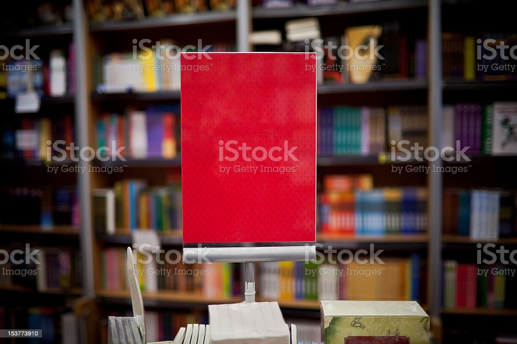 Red ad space in bookstore royalty-free stock photo