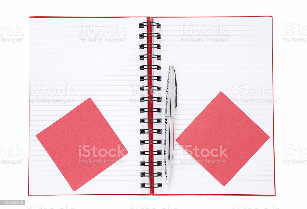 red adhesive notes with pen on blank notebook royalty-free stock photo