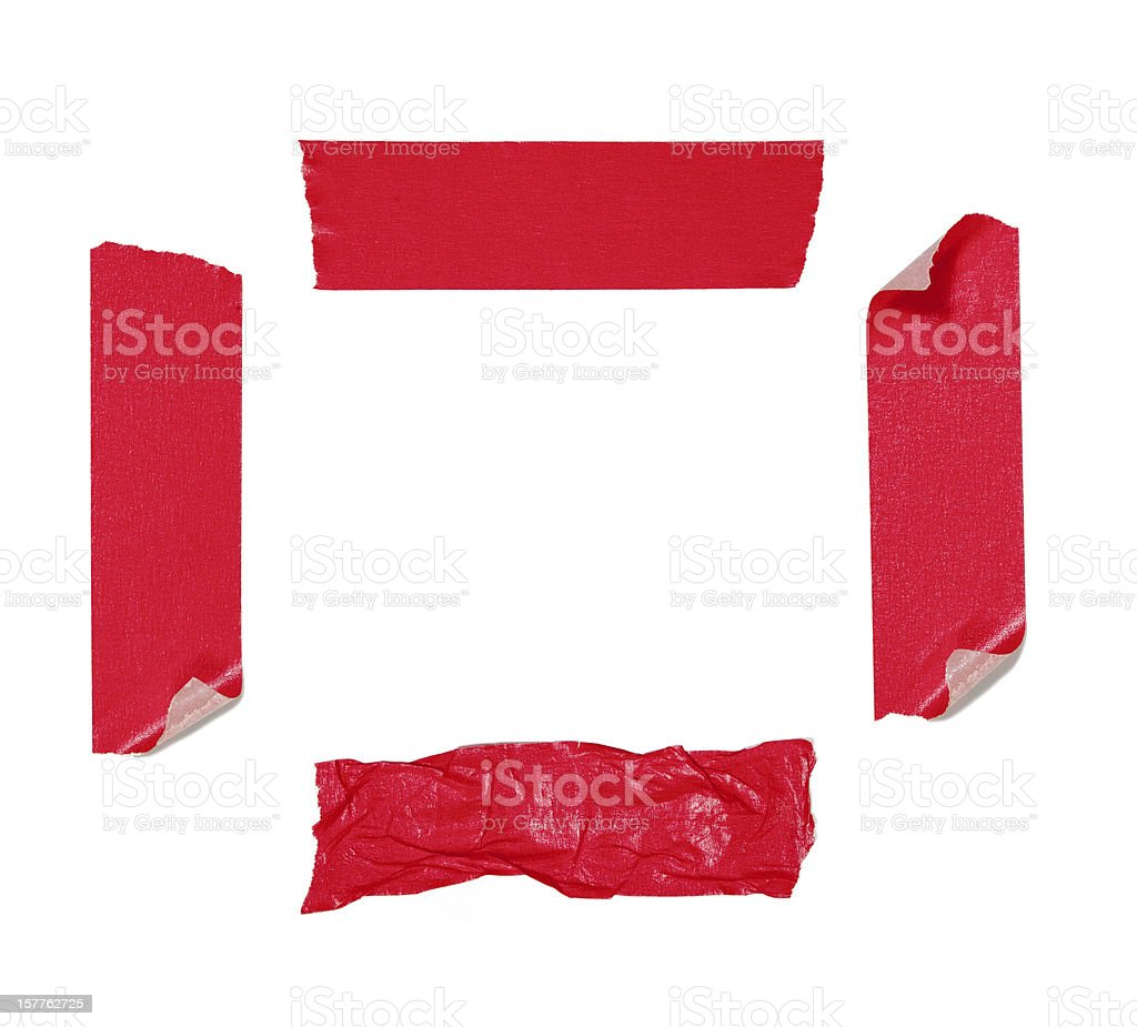 Red adhesive tape isolated stock photo