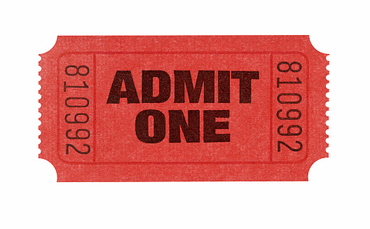 Red admission ticket with serial number admitting one