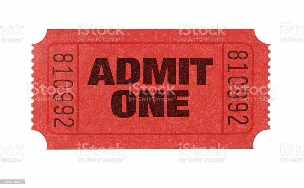Red admission ticket with serial number admitting one stock photo