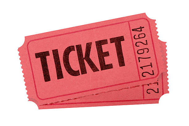 Red admission tickets Red admission or raffle tickets isolated against white (clipping path provided).  Alternative version of orange tickets shown below: train ticket stock pictures, royalty-free photos & images