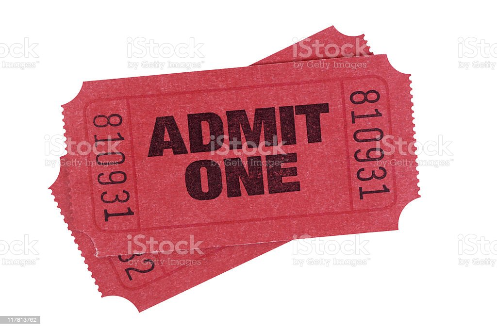 Red admission tickets stock photo
