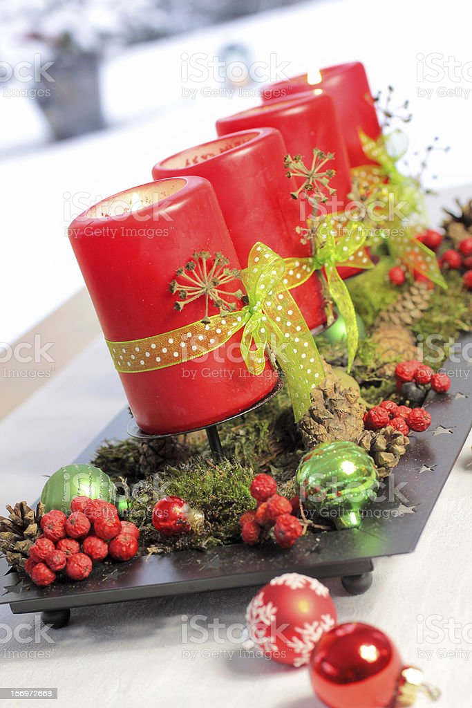 Red Advent Candles royalty-free stock photo