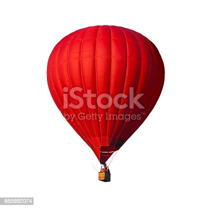 istock Red air balloon isolated on white 655992074