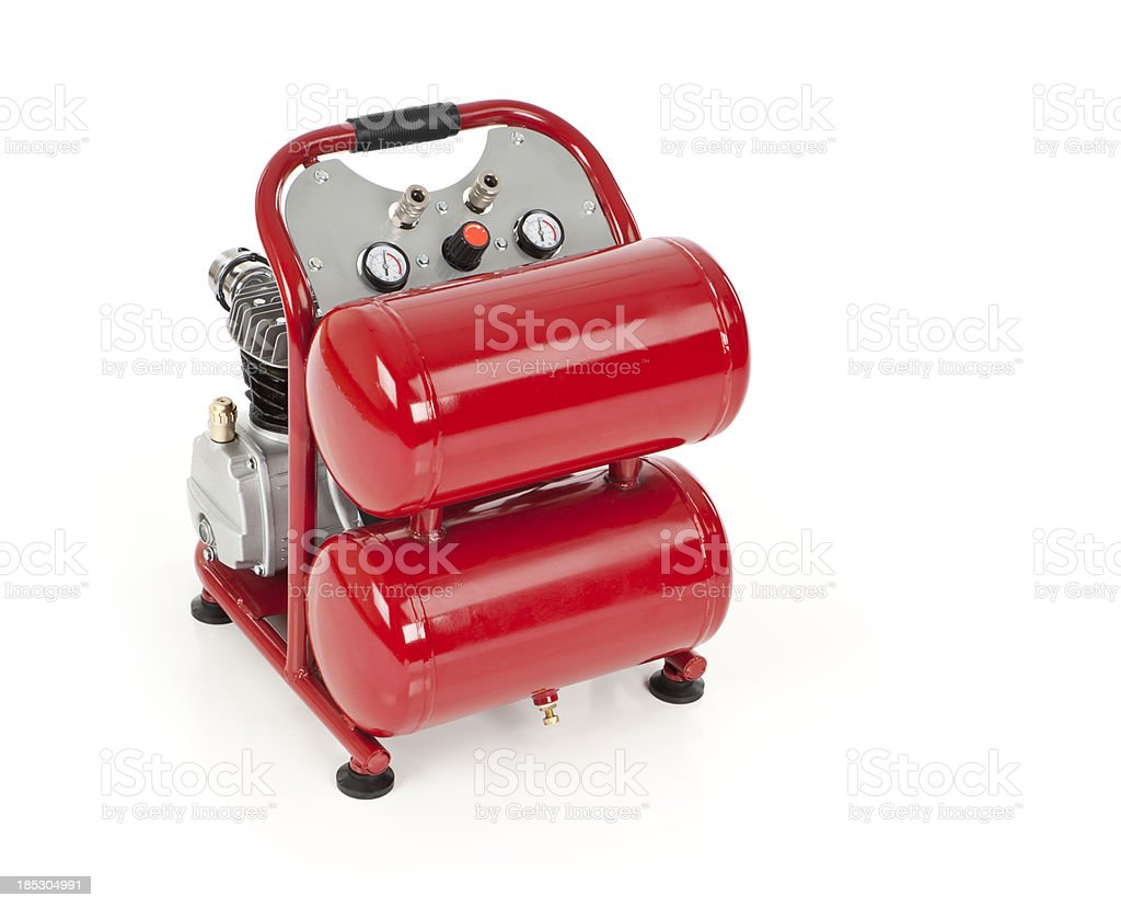 Red Air Compressor Isolated stock photo