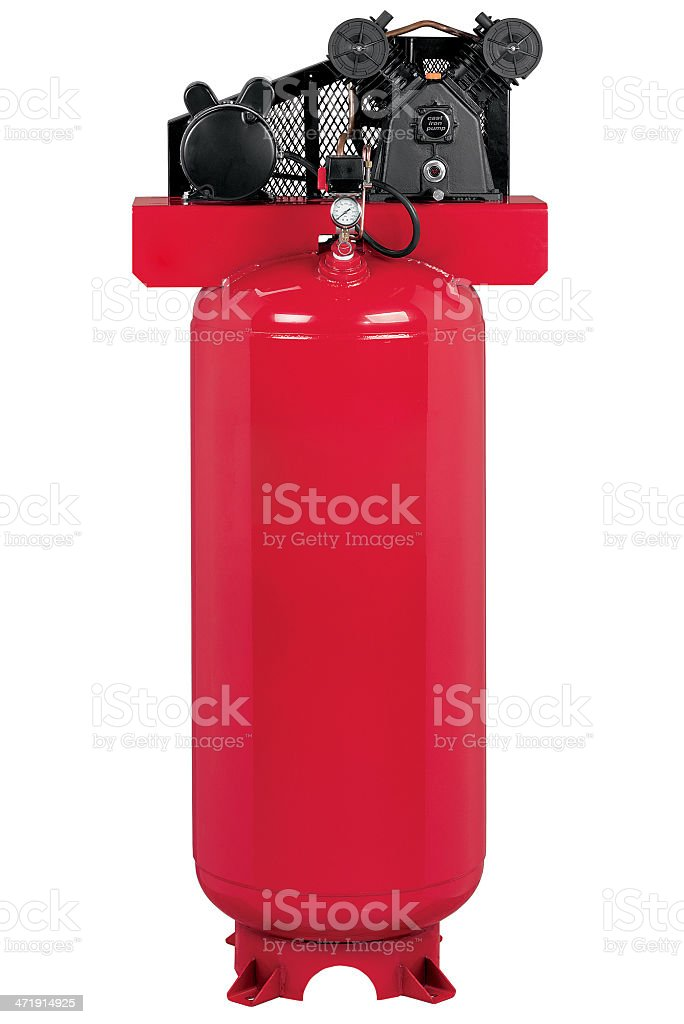 A red air compressor standing in front of a white background stock photo