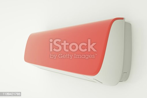 istock Red air conditioner isolated on white wall. 3d illustration 1139421793
