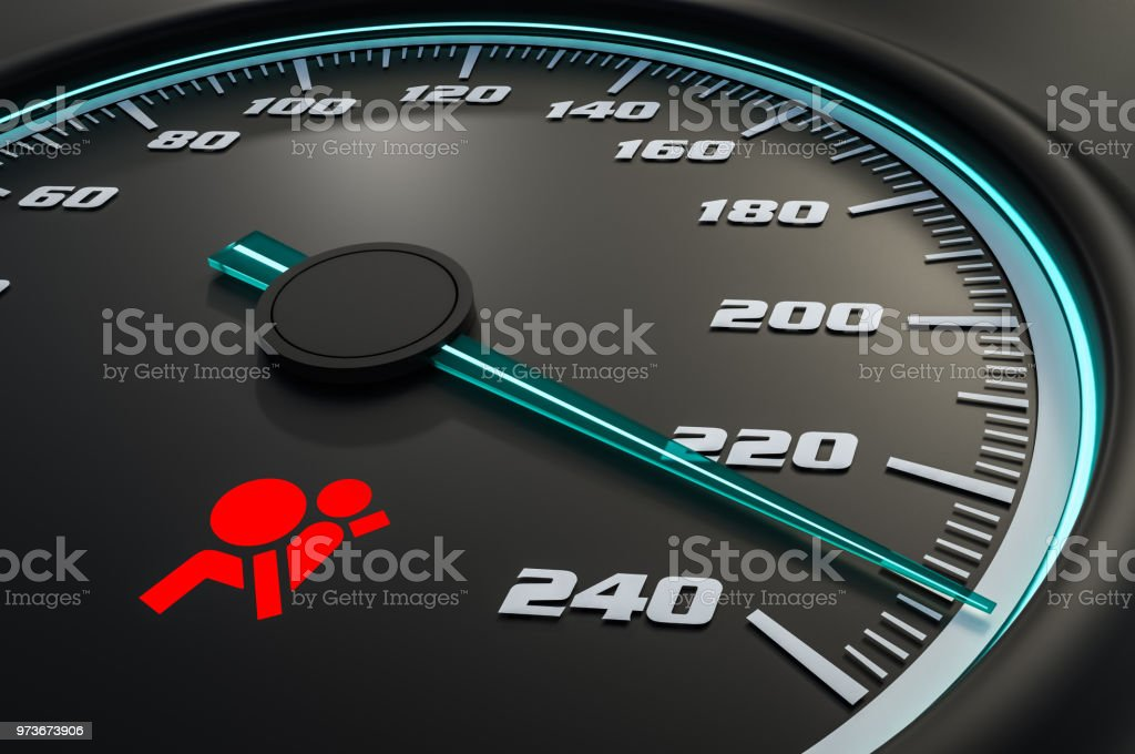 Red airbag light on car dashboard stock photo