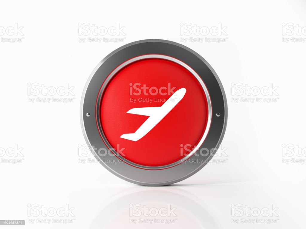 Red Airplane Icon With Metallic Frame On White Background stock photo