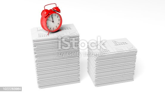 istock Red alarm cloack on a pile of paperwork with graphs, isolated on white background. 1022283984