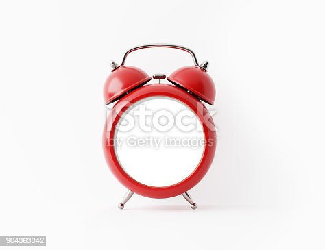 istock Red Alarm Clock On White Background 904363342