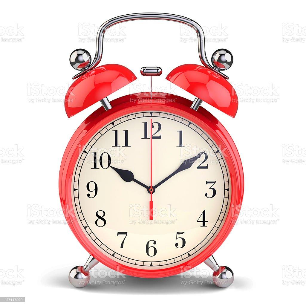 Red alarm clock stock photo